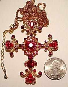Huge Ruby Red Rhinestone Ornate Cross Necklace Goldtone (Image1)