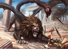 Manticore (Early Middle Persian Martyaxwar) is a Persian legendary creature similar to the Egyptian sphinx. It has the body of a red lion, a human head with three rows of sharp teeth (like a shark), sometimes bat-like wings, and a trumpet-like voice.