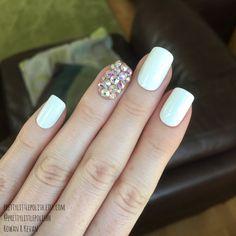 White short square swarovski nails Stiletto nails Fake