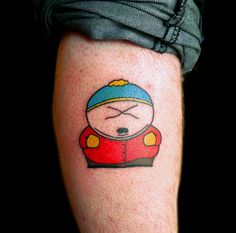 Cartman from South Park calf tattoo