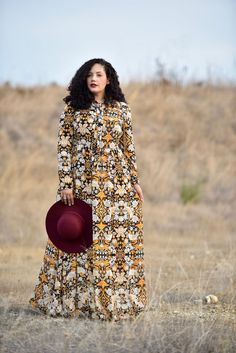 Plus Size Fashion - Girl with Curves - Long Sleeve Maxi Dress