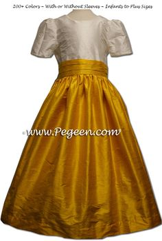 White Diamond Sequined and Mustard or Goldenrod Yellow Silk Flower Girl Dresses by Pegeen.com