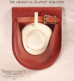 Dunkle Rose Teetasse Lederholster mit Vintage Floral Teetasse