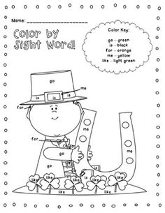 Color the sight word for St. Patrick's Day.