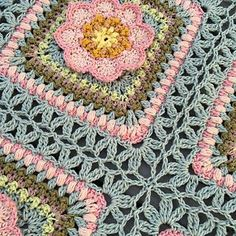 Ravelry: Song of the Forest pattern by Johanna Lindahl Joining Crochet Squares, Granny Square Crochet Pattern, Crochet Blocks, Crochet Stitches Patterns, Crochet Motif, Knit Crochet, Hexagon Pattern, Blanket Crochet, Free Crochet