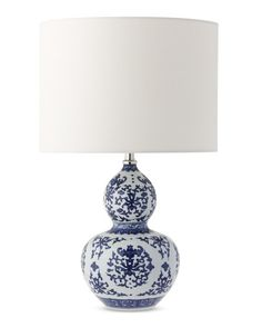 Gourd Ginger Jar Table Lamp, Blue and White