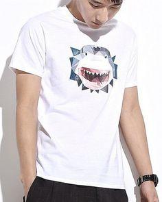 Creative geometric shark t shirt for men cool animal design tee