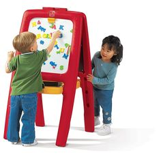 <ul><li>Unique easel design doubles the fun!</li><li>Features 2-sided easel - one with a chalkboard and one with a magnetic dry erase board</li><li>77 foam magnetic letters, numbers & signs</li><li>Two dry erase markers, 2 pcs. of chalk & eraser (TRU Exclusive Accessory)</li><li>Paper clip on each easel side for drawing and painting activities</li><li>Middle storage area holds art supplies...