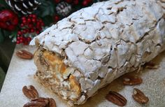 Day 9 - Toffee Pecan Roulade tips on baking ahead and freezing - Bake off night - Pecan Recipes, Sweet Recipes, Baking Recipes, Christmas Desserts, Christmas Baking, Christmas Recipes, Easter Cake Easy, Meringue Roulade, Roulade Recipe