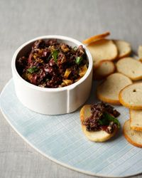 "Black Olive Tapanade with Figs and Mint | Jacques Pépin adds dried figs to his tapenade, a spread that is often called the ""butter of Provence."" 