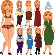 Recommended fashion style for triangle type of woman figure, vector hand drawn illustration, part of collection photo