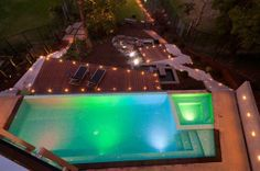 LED pool lighting. Love the combinations here.
