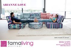 The much loved sectional sofa from Fama is back in a burst of new colours and in a whole new composition. Funky Sofa, Scandinavian Sofas, Sectional Sofa, Couch, Salon Style, Module, Living Room Sofa, Furniture Collection, Colours