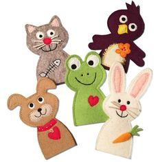 Cute animal felt finger puppets.  Pattern to buy.  fingerpuppen-garten