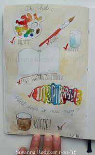 Ik heb: ✔ palet ✔ kwast ✔ water ✔ lege pagina schetsboek ✔ inspiratie  Wat heb ik nog nodig? KOFFIE! ✔  *koffieliefhebster*