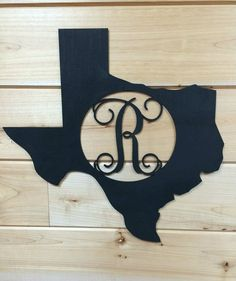 Unfinished Wood Texas Shape with Initial