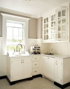Molding around window, beadboard ceiling and wainscoting---would love to do in dining room kitchen