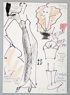 """Jerzy Antkowiak, """"Moda Polska"""", Projekt sukni wieczorowej, 1989, wł. MNK #PRL #Moda Polska #Polish fashion #Jerzy Antkowiak Theater, Vintage, Fashion, Woman, Moda, Fashion Styles, Theatres, Fasion, Vintage Comics"""