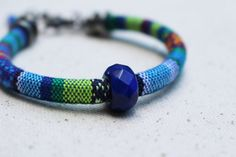 Blue Bead Bracelet Colorful Woven Bracelet by LittleBitsOFaith