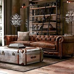awesome 46 Awesome Rustic Industrial Living Room Design And Decor Ideas Living Room Sofa, Living Room Decor, Chesterfield Living Room, Chesterfield Sofas, Apartment Living, Leather Living Room Furniture, Leather Chesterfield, Living Room Ideas With Leather Sofa, Man Cave Living Room