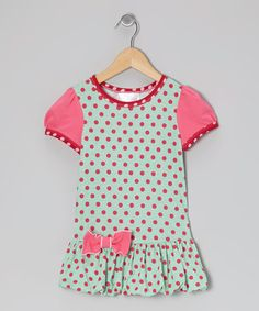 Take a look at this Turquoise Polka Dot Bubble Drop-Waist Dress - Toddler & Girls by Olive & Lucy on #zulily today!