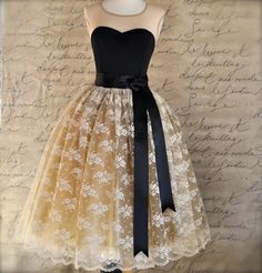 cream lace and gold tulle