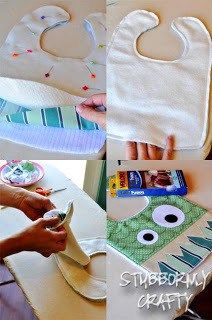 assemble the pieces of the monster bib