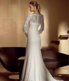 Empire V-Neck Chapel Satin Bridal Gowns