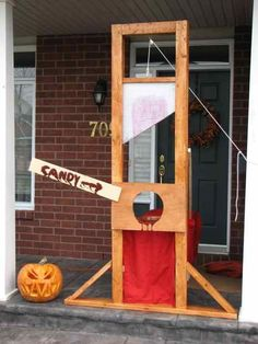 This would be funny to have as a prop all season and then actually put a person there on Halloween to jump out but only on the adults. That would just be mean to do to the kids