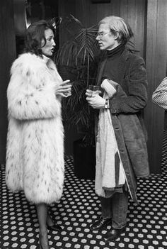 Lee in fur with Warhol.