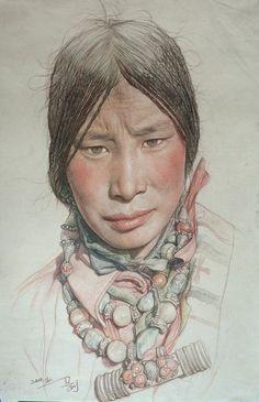 """Saatchi Online Artist: William Wu; Colored Pencils, 2011, Drawing """"Portrait of Tibetan girl"""""""