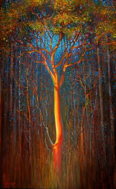 "'Burning Arbutus' by Brent Lynch  oil on canvas 60"" x 36"