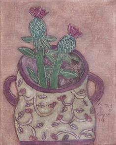 Soojung Cho, thistle in a jar Color Me Beautiful, Still Life Art, Pictures To Paint, Folk Art, Art Pieces, Drawings, Bouquet, Thistles, Artists