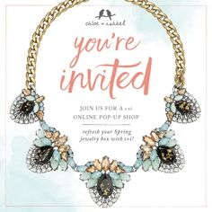 """You're invited to a Chloe Isabel online pop-up shop! Click """"shop"""" and choose """"Grand Opening"""" Pop-UP when placing order! Tarnished Jewelry, Chloe Isabel, Youre Invited, Bridal Gifts, Grand Opening, Memorial Day, Pop Up, Bridal Jewelry, Fashion Jewelry"""