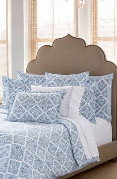 Inspired by the intricate, inky-blue tiles seen throughout Lisbon, this cotton-percale duvet cover adds an element of Southern European charm to the bedroom décor.