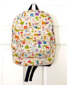 NWT Comeco Inc Kitten Caboodle Off-white Backpack Colorful Crazy Cats Prints #ComecoInc #Backpack