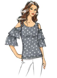 Fashion Illustration Sketches, Fashion Design Sketches, Fashion Drawings, Vogue Patterns, Sewing Patterns, Loose Fitting Tops, Fashion Flats, Top Pattern, Fashion Pictures