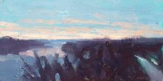 Frank Hobbs: The Kennebec River at Sunset, Waterville, Maine; oil on wood, 6 x 12 in.
