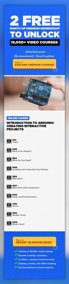 Introduction to Arduino: Creating Interactive Projects Technology, Product Design, Arduino, Prototyping, Electrical Engineering, Electronics, Creative, UI/UX Design #onlinecourses #onlinecoursesmarketing #teachingonlineclasses   When designer Massimo Banzi created the Arduino in 2005, he had no idea that his tiny, open-source microcontroller would spark a revolution. Today, thousands of non-engine...