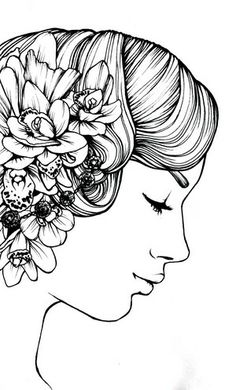 She wears Flowers in her Hair, 2012.  Ink on Paper.