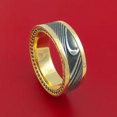 14K Yellow Gold and Kuro Damascus Steel Eternity Black Diamond Ring Custom Made Band