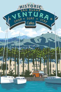 Ventura California vintage travel poster by Steve Thomas Ventura California, Vintage California, California Dreamin', Ventura County, Retro Poster, Poster Ads, Art Deco Posters, Cool Posters, Steve Thomas