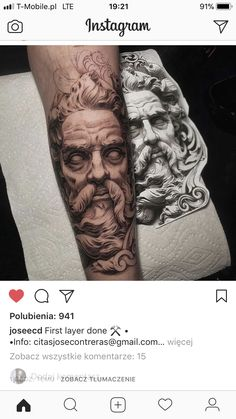 tattoo zeus realismo * tattoo zeus - tattoo zeus mythology - tattoo zeus preto e cinza - tattoo zeus poseidon - tattoo zeus greek gods - tattoo zeus design - tattoo zeus realismo - tattoo zeus desenho Mens Body Tattoos, Best Sleeve Tattoos, Tattoo Sleeve Designs, Body Art Tattoos, Forarm Tattoos, God Tattoos, Tattoos For Guys, Tattos, Posiden Tattoo