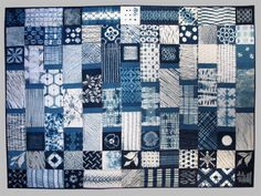 This quilt is a dictionary of the shibori patterns, including traditions from India,  Japan, China and Africa.