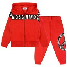 Moschino Boys Red Logo Stripe Tracksuit