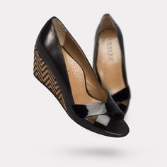The Daphne - Black Patent / Chevron. On sale for $425. #AnyiLu #wedges #fashion #shoes