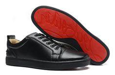 Christian Louboutin Louis Junior Flat Leather Low Top Sneakers Black