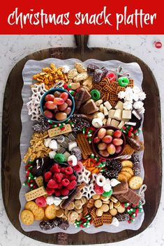 This ultimate Christmas Snack Platter is full of sweets, cookies, and fruit to keep hands of all ages busy while you wrap up some holiday tasks. Fruit platter simple Christmas Snack Platter - Dessert Board for Kids and Adults! Christmas Party Food, Xmas Food, Christmas Appetizers, Christmas Sweets, Christmas Cooking, Christmas Christmas, Desserts For Christmas, Christmas Party Desserts, Holiday Parties