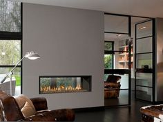 Double Sided Slim Fireplace. ...between MBed and living room