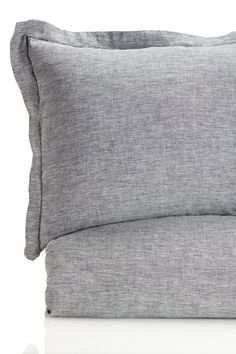 100% Yarn Dyed Linen Duvet Cover Set - Grey by Melange Home